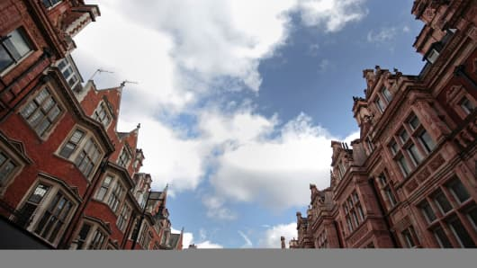 Residential properties are seen in a street in Mayfair, London, U.K.