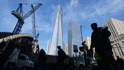 One World Trade Center and the World Trade Center Transportation Hub under construction, March 11, 2014 in New York.
