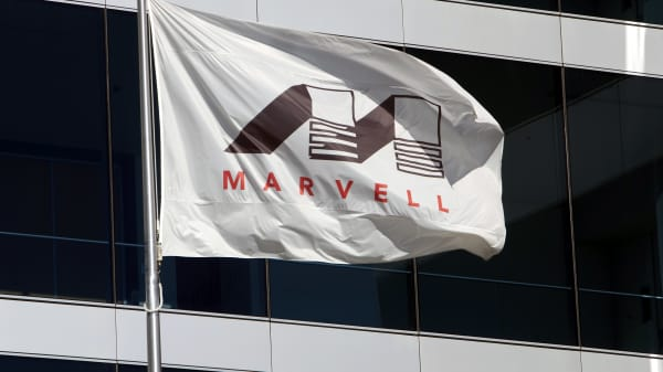 A Marvell Technology Group Ltd. flag flies outside the company's headquarters building in Santa Clara, California.