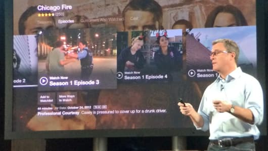 Amazon unveils its FireTV at a press event in New York on April 02, 2014.