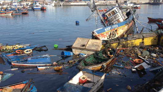 Fishing boats at the Riquelme Cove in Iquique, northern Chile, April 2, 2014, a day after an 8.2-magnitude earthquake.
