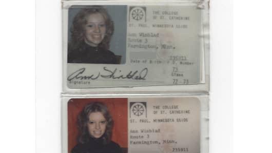 Ann Winblad's college ID.