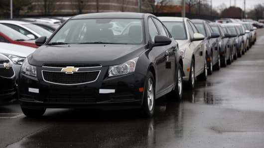 General Motors Co. 2014 Chevrolet Cruze vehicles sit on the lot at a dealership in Southfield, Michigan.