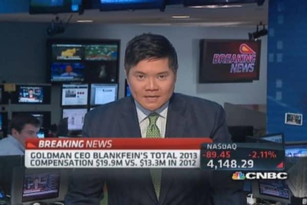 Goldman CEO Blankfein's total comp. in 2013 $19.9 million