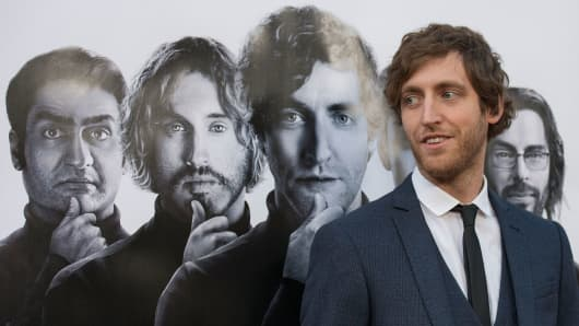 "Actor Thomas Middleditch arrives at the premiere of HBO's ""Silicon Valley,"" at Paramount Studios in Hollywood, April 3, 2014."