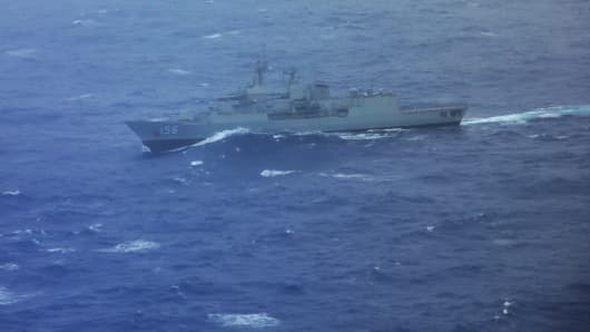 The Australian ship HMAS Toowoomba in the search zone for debris from Malaysia Airlines flight MH370 on April 1, 2014 in Perth, Australia.