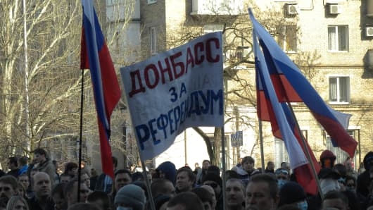 Pro-Russian supporters in the eastern Ukrainian city of Donetsk.