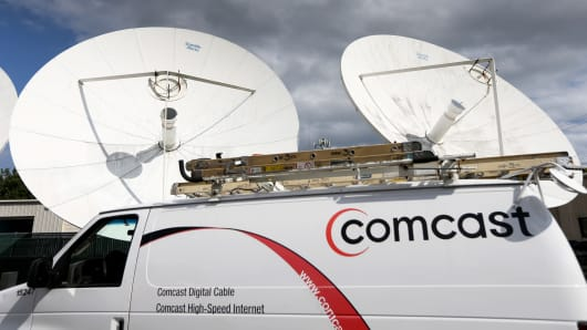 A Comcast truck is seen parked at one of their centers in Pompano Beach, Florida.