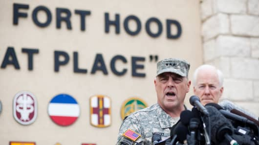 Gen. Mark Milley speaks during a news conference on April 3, 2014, a day after the shootings.
