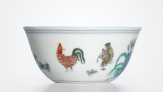 Ming Dynasty 'chicken cup' smashes record in $36 million sale at Sotheby's in Hong Kong.