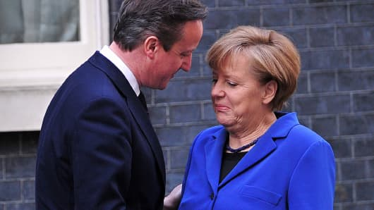 U.K. Prime Minister David Cameron and German Chancellor Angela Merkel
