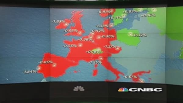 Europe shares close lower for second day