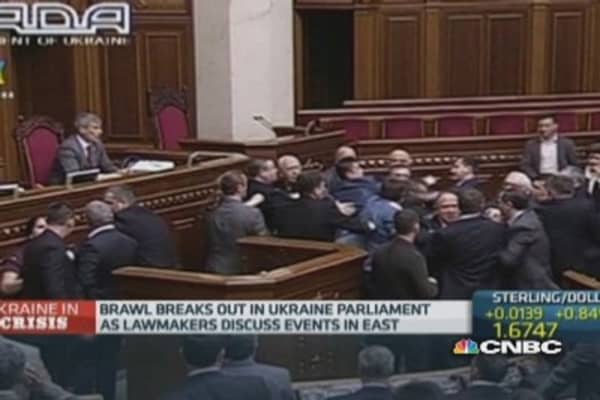 Brawl breaks out in Ukraine parliament