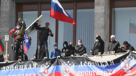 Pro-Russian activists seize the main administration building in Donetsk, Ukraine.