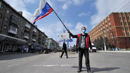 A pro-Russian activist in eastern Ukraine