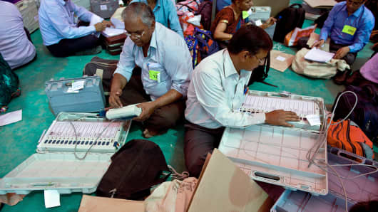 Indian election officials check electronic voting machines at a distribution center in Ghaziabad, Uttar Pradesh state this week.