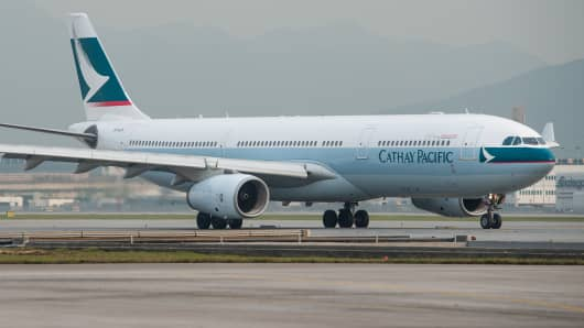 File photo of a Cathay Pacific jet on the tarmac in Hong Kong.