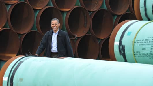 President Barack Obama at the TransCanada Stillwater pipe yard in Cushing, Oklahoma.