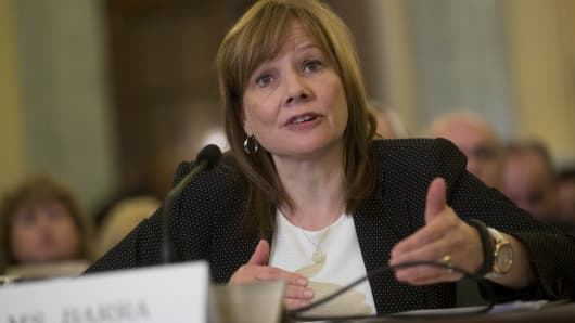 GM's Mary Barra testifies at an April 2, 2014,  Senate hearing.