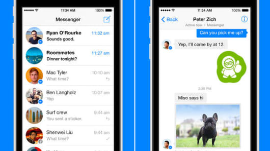Facebook Messenger screens