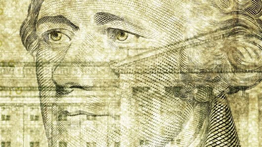 Close-up of ten dollar bill