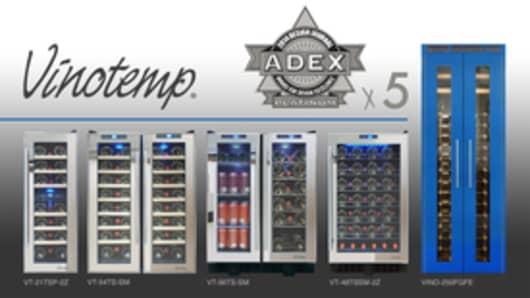 Vinotemp's five Platinum ADEX award-winning products.