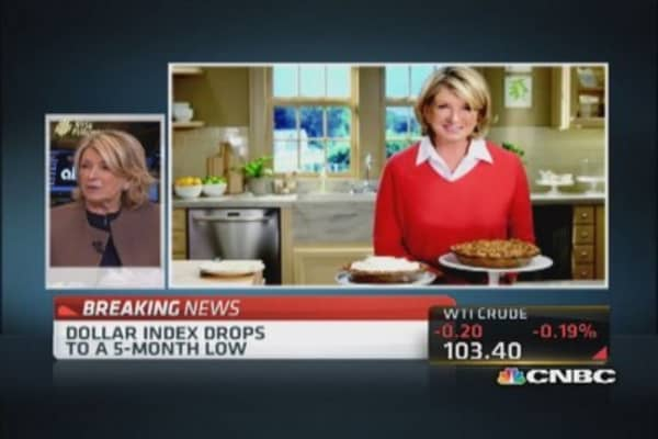Martha Stewart bakes as the market shakes