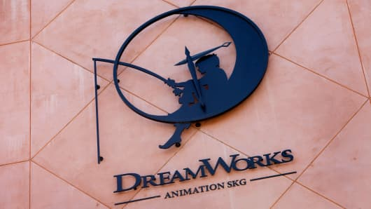 The DreamWorks Animation SKG logo is displayed in the courtyard of the company's headquarters in Glendale, California.