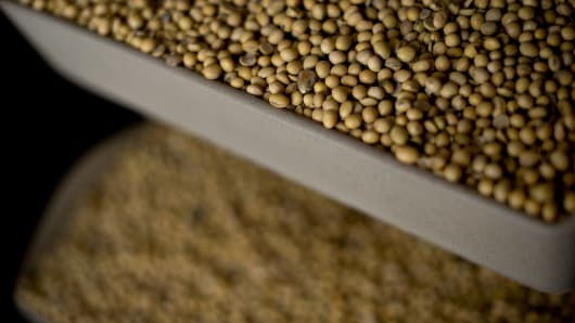 Soybeans sit in bins on a vertical conveyor at the Atherton Grain Co. Inc. elevator in Normandy, Illinois, U.S..