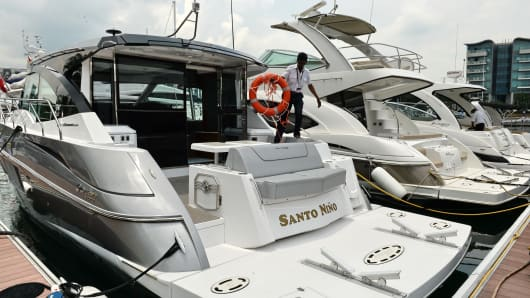 Luxury boats and yachts on display during the Singapore Yacht show at ONE°15 Marina Club at Sentosa cove on April 10, 2014.