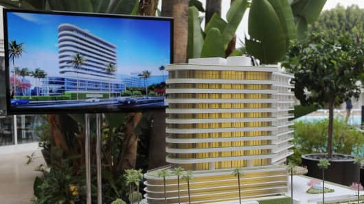 Scale model of Waldorf Astoria Beverly Hills on display during Waldorf Astoria Beverly Hills celebration at The Beverly Hilton Hotel on April 10, 2014 in Beverly Hills, California.