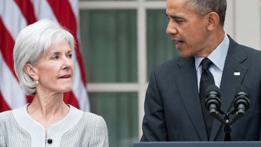 President Barack Obama thanks outgoing Heath and Human Services Secretary Kathleen Sebelius as he names Sylvia Mathews Burwell, his current budget director, to replace her in the Rose Garden at the White House, Washington, on April 11, 2014.