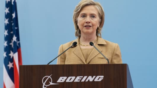 As Secretary of State, Hillary Clinton speaks on commercial development at the Boeing Maintenance Facility at Pudong International Airport in Shanghai, May 23, 2010.