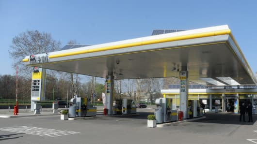 An Eni fueling station is shown in Milan, Italy