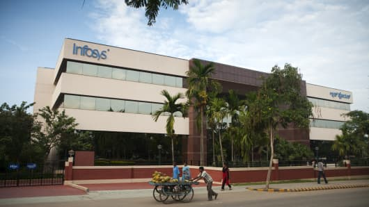 Infosys (Info Systems) glass building in India.
