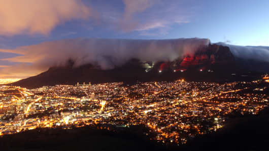 Cape Town, South Africa: An 'Easily recognizable city with strong international company presence'.