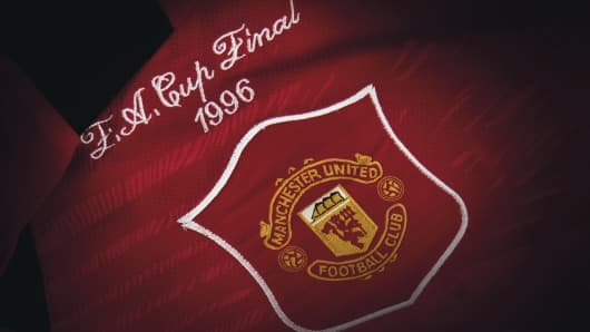 """Manchester United Cup Final shirt from 1996 signed """"Best wishes Alex Ferguson"""""""