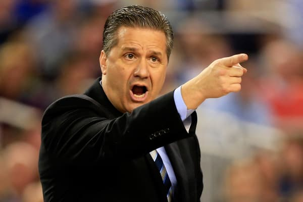 Head coach John Calipari of the Kentucky Wildcats during the championship game of the 2014 NCAA men's basketball tournament against the Connecticut Huskies in Arlington, Texas.