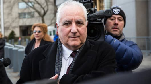Daniel Bonventre, age 67, who served as Director of Operations for Madoff Investment Securities, leaves federal court after being found guilty of charges of aiding, assisting and profiting from the Ponzi scheme run by Bernard Madoff on March 24, 2014 in New York City.