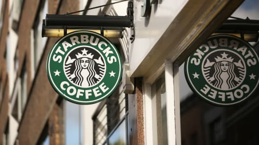 A Starbucks coffee location in London.