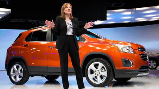 Mary Barra, CEO of General Motors, talks in front of the Chevrolet Trax at the New York International Auto Show, Tuesday, April 15, 2014 in New York.