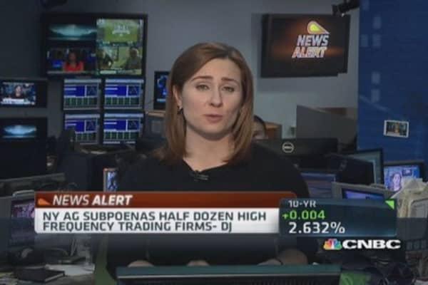 NY AG subpoenas half dozen high-frequency trading firms: DJ
