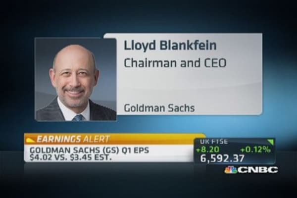 Goldman reports earnings beat of $4.02 vs. $3.45 estimate
