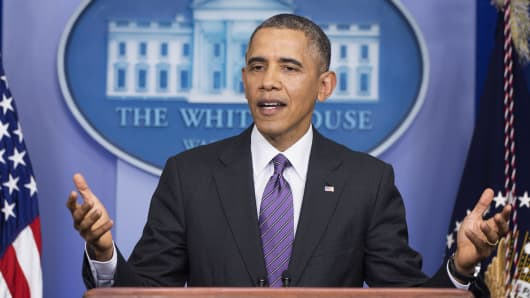 President Barack Obama delivers remarks from the Brady Press Room at the White House in Washington, DC, April 17, 2014.