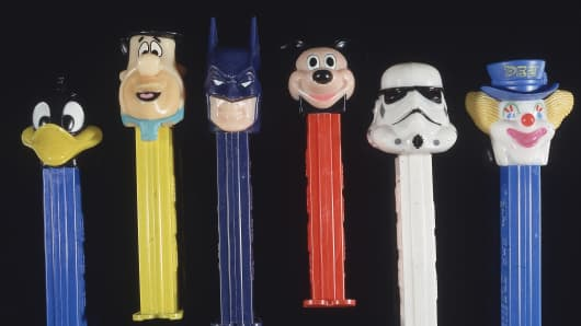 1980s PEZ dispensers, featuring the heads of popular cartoon characters