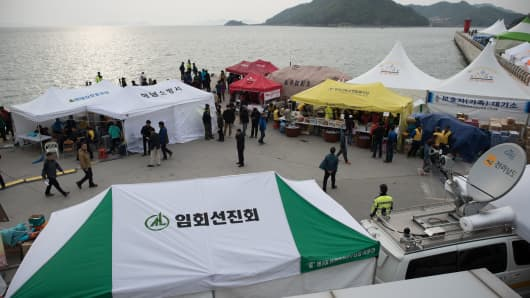 A general view shows an area where family members of victims who were on board the capsized South Korean ferry Sewol are gathered at Jindo harbour.
