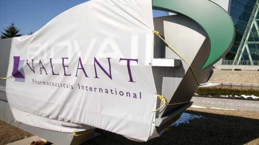 Valeant Pharmaceuticals sign at the company's headquarters in Mississauga, Ontario.