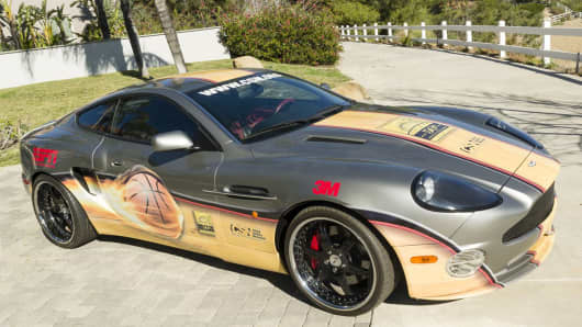 2002 Aston Martin Vanquish featuring 50 N.B.A. Hall of Fame athletes' signatures
