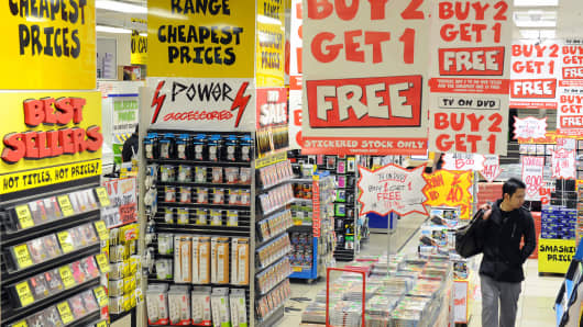 A customer browses through an electrical goods retail store in Sydney.