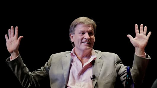 Michael Lewis participates in a discussion at George Washington University on April 4, 2014.